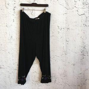 COLDWATER CREEK BLACK FLORAL PANTS 2X